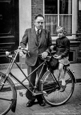 """my father and sister with an """"EMPO""""-bicycle"""