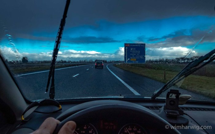 driving through Dutch rainy skies